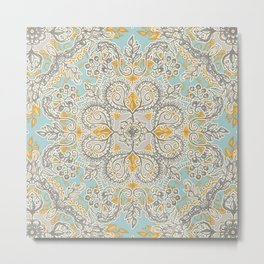 Gypsy Floral in Soft Neutrals, Grey & Yellow on Sage Metal Print