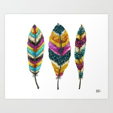 Midnight Feather Trio. Candy Colored Edition Art Print