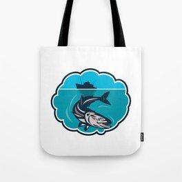 Cobia Fish Fishing Boat Bubble Retro Tote Bag