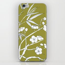 bamboo and plum flower in white on yellow iPhone Skin