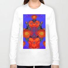 Ornate Modern Orange Poppy Flowers Ultramarine art Long Sleeve T-shirt
