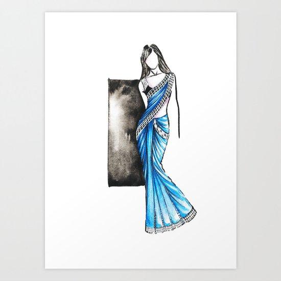 Saree Indian Wear Fashion Illustration Art Print By Rashmidagwar Society6