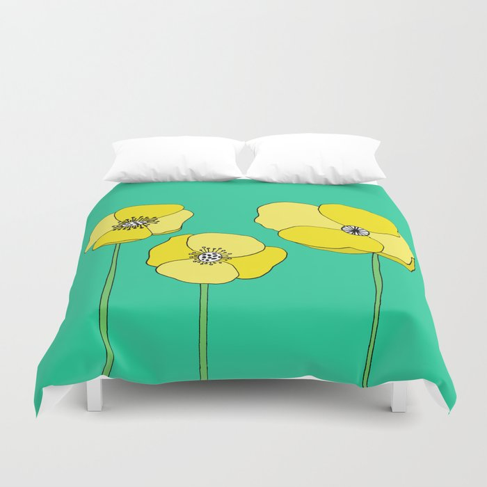 Bright Yellow and Mint Green Poppies Growing and Thriving Duvet Cover