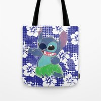 stitch Tote Bags featuring Stitch  by Nic Moore