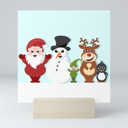 Christmas cartoon characters - Santa Claus, snowman, reindeer, elf and penguin Mini Art Print
