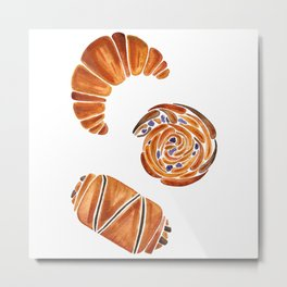 French pastries - croissant, chocolate, rasin Metal Print