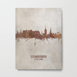 Edinburgh Scotland Rust Skyline Metal Print
