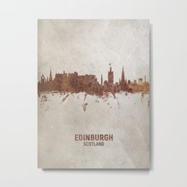 Edinburgh Scotland Rust Skyline Metal Print