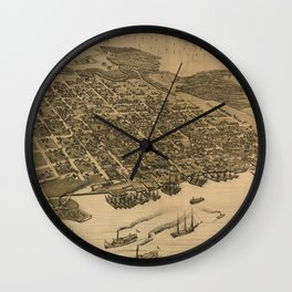 Vintage Pictorial Map of Jacksonville FL (1874) Wall Clock