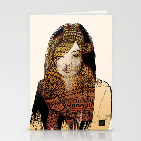Native girl Stationery Cards