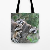 racoon Tote Bags featuring Racoon 001 by jamfoto
