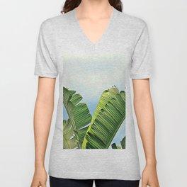 Frayed Palm Fronds Against Blue Sky Unisex V-Neck