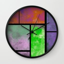 Textured Windows - Modern, abstract, textured painting Wall Clock