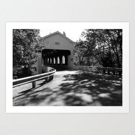 Covered Bridge in Black and White Art Print