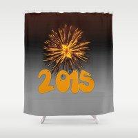 2015 Shower Curtains featuring 2015 by MehrFarbeimLeben