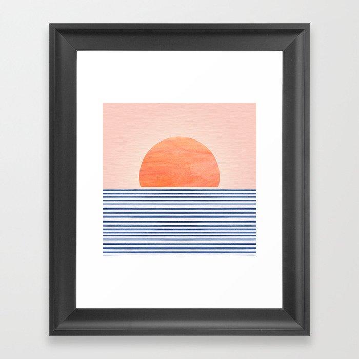Summer Sunrise - Minimal Abstract Gerahmter Kunstdruck