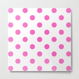 Pink and White Polka Dots Design Metal Print