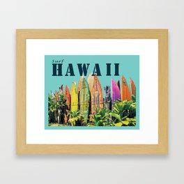 Hawaiian Surfboard Postcard Print Framed Art Print