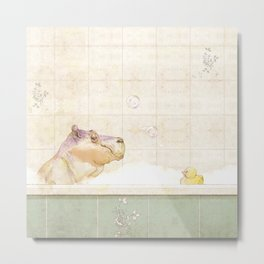 Hippo in the bath Metal Print