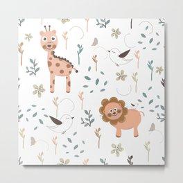 Seamless kids pattern with giraffe, lion and birds Metal Print