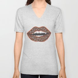 Animal Print Lips Unisex V-Neck