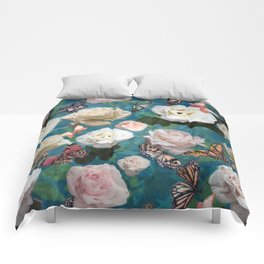 White Roses and Butterflies Comforters