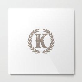 Beige Monogram: Letter K Metal Print