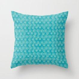 Blue Scribbles Pattern 01 Throw Pillow