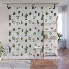 Green plants in white pots Wall Mural