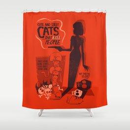 Cat Movie - orange Shower Curtain