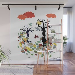 Leaves and crows Wall Mural