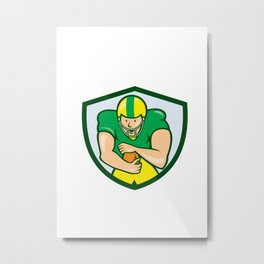 American Football Running Back Shield Cartoon Metal Print