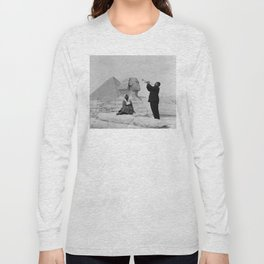 Black and White Photo of Louis Armstrong at the Egyptian Sphinx Long Sleeve T-shirt