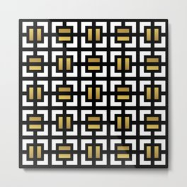 Modern geometric background gold,black and white #society6 #decor #buyart #artprint Metal Print