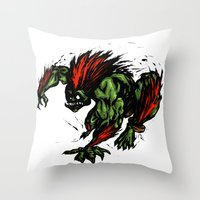 street fighter Throw Pillows featuring Blanka Rush! - Street Fighter by Peter Forsman