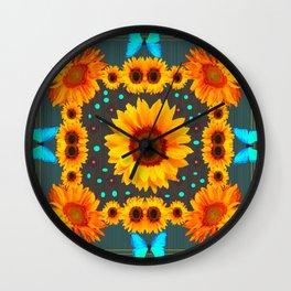 Blue Butterflies Golden Sunflowers Teal Art Wall Clock