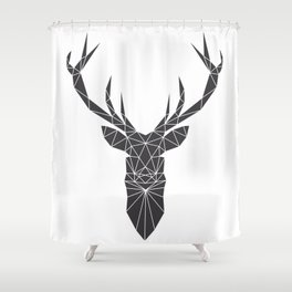 Grey Deer Head Illustration Shower Curtain