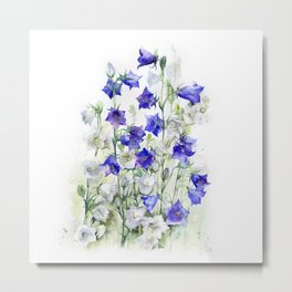Bluebells watercolor flowers, aquarelle bellflowers Metal Print