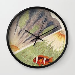 Vintage Great Barrier Reef and Clown Fish Illustration Wall Clock