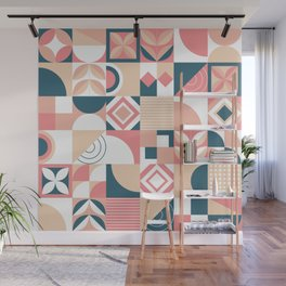 Lovely Geometric Shapes Abstract art in pastel and blue pattern Wall Mural