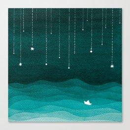 Falling stars, sailboat, teal, ocean Canvas Print