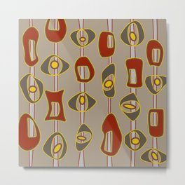 Mid Century Mod Blobs in Red & Taupe on Tan Metal Print