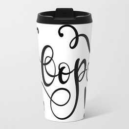 Oops! Hand Lettering Flourish Design Black Script Travel Mug