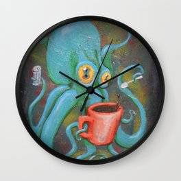 Michelle's Coffee Drinking Octopus Wall Clock