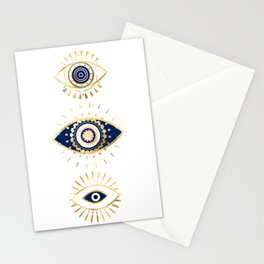 evil eye times 3 navy on white Stationery Cards