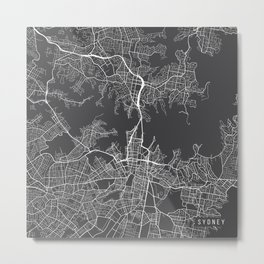 Sydney Map, Australia - Gray Metal Print