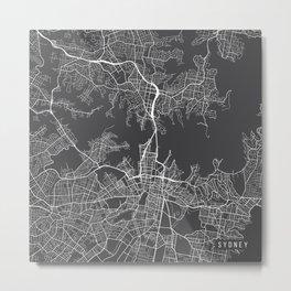 Sydney Map, Australia - Gray Metal Print