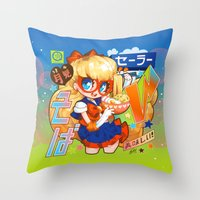 barachan Throw Pillows featuring v soba by barachan