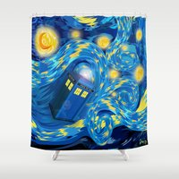 fandom Shower Curtains featuring Blue Phone box Starry the night iPhone 4 4s 5 5c 6, pillow case, mugs and tshirt by Three Second