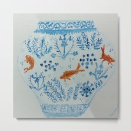 Goldfish Ginger Jar  Metal Print